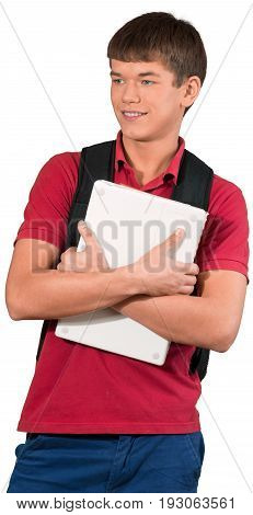 Holding young man laptop backpack hands crossed arms outstretched