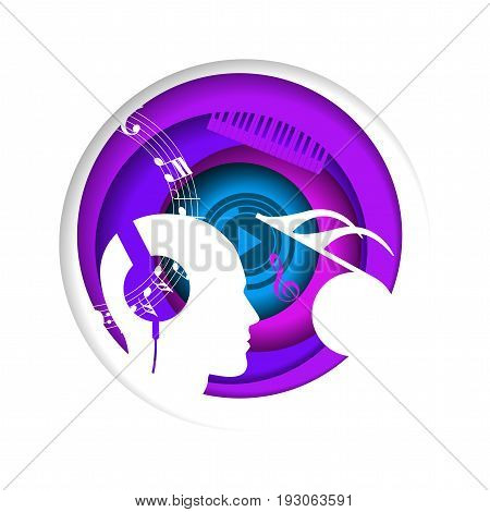 Abstract music concept in a circle. Imagination. Background. Vector illustration