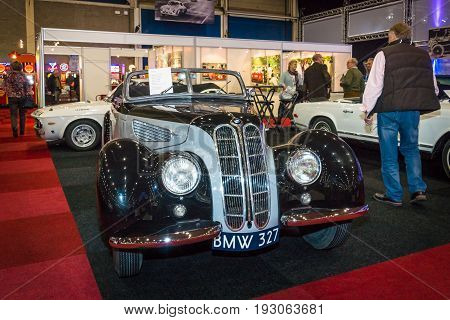 MAASTRICHT NETHERLANDS - JANUARY 15 2016: Vintage car BMW 327 Cabriolet 1939. International Exhibition InterClassics & Topmobiel 2016