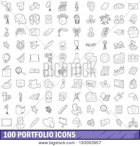 100 portfolio icons set in outline style for any design vector illustration