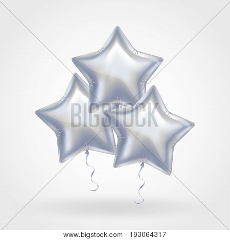 3 Three Silver star balloon on background. Party balloons event design