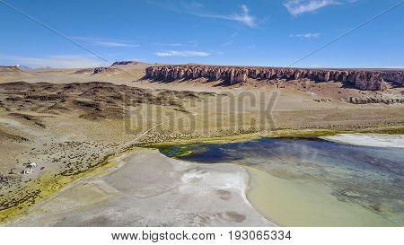 Aerial view of Salar de Tara or Tara salt lake at the Atacama desert, Chile