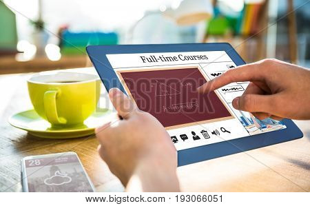 Composite image of full-time courses against cropped image of hipster businessman using tablet