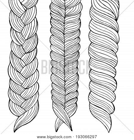 Vector illustration Drawing of three braids hairstyle for girls executed in black and white style by hand