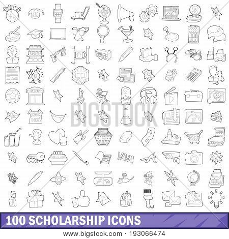 100 scholarship icons set in outline style for any design vector illustration