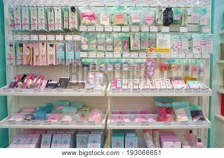 SEOUL, SOUTH KOREA - CIRCA MAY, 2017: goods on display at Etude House store in Seoul.