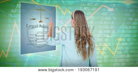 Hipster pointing with her finger  against stocks and shares