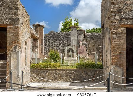 ancient Pompeii ruins, UNESCO World Heritage Site, Campania region, Italy. Pompeii city destroyed in 79BC by the eruption of Mount Vesuvius