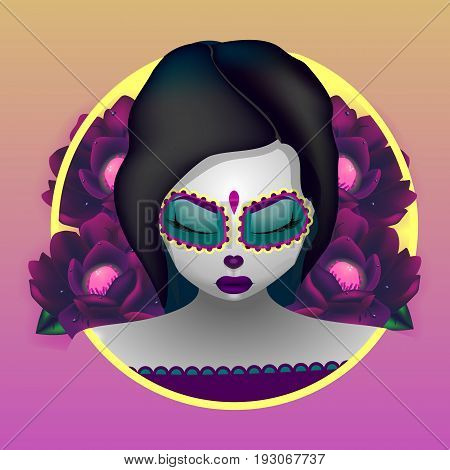Beautiful vector illustration. Girl with closed eyes. Katrina. The day of the Dead