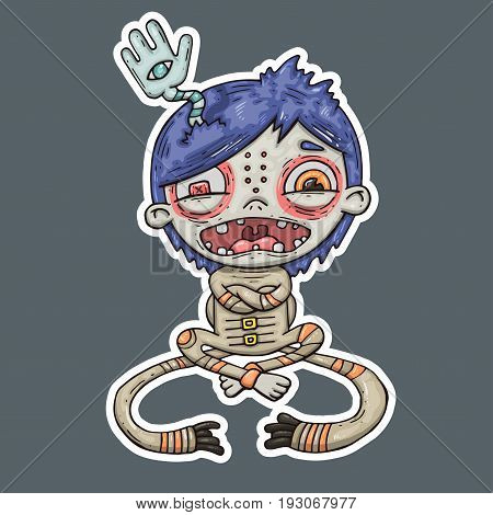 insane boy cartoon illustration for print and web