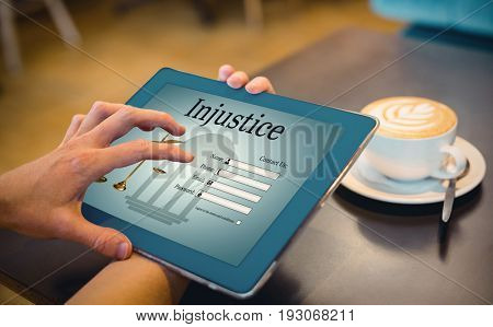 Graphic interface of lawyer contact form  against  close-up of digital tablet and coffee on table Close-up of digital tablet and coffee on table in the coffee shop