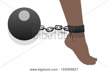Women's feet shackled with metal bullet, vector art illustration violence.