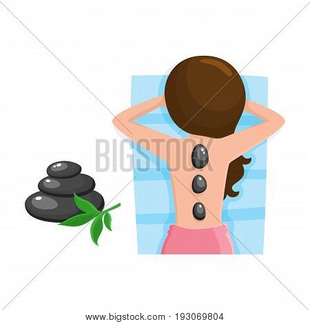 Young woman getting hot stone massage in spa salon, top view cartoon vector illustration on white background. Top view picture of woman getting hot stone massage in spa salon