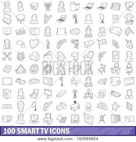 100 smart tv icons set in outline style for any design vector illustration
