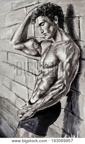 Naked athletic guy at wall Original oil painting on canvas. Beautiful hand made sexy body artwork. Fassion illustration. Modern impressionism art.