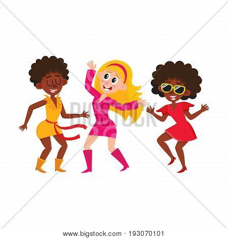 Retro girl disco dancers, black and Caucasian women, cartoon vector illustration isolated on white background. women in colorful clothes dancing at retro disco party