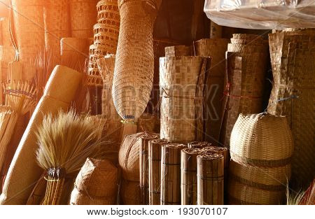 Bamboo Basketwork Natural Handmade For Sale In Thailand.