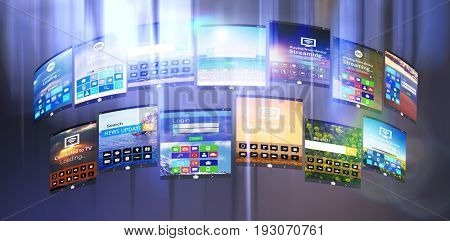 Digital composite image of various device screens against tables in office cafeteria