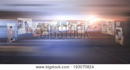 Vector image of various device screens against table and empty chairs in office