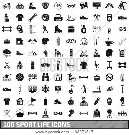 100 sport life icons set in simple style for any design vector illustration