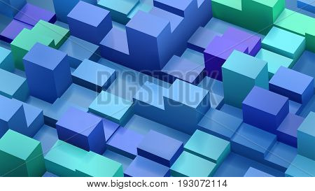 Abstract Background Of Cubes And Parallelepipeds In Blue And Green Colors