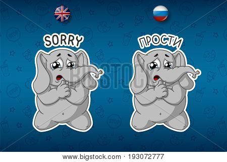 Stickers elephants. He kneels for forgiveness. Big set of stickers in English and Russian languages. Vector, cartoon