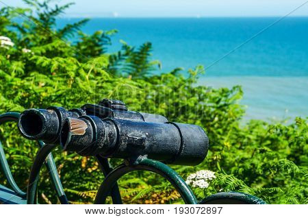 Metal Ornament On A Balustrade In A Seaside Town, Symbolic In The Shape Of Binoculars