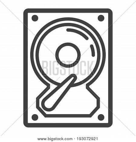 Hard disk line icon, hardware and hdd, vector graphics, a linear pattern on a white background, eps 10.