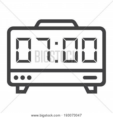 Digital clock line icon, electronic and alarm, vector graphics, a linear pattern on a white background, eps 10.