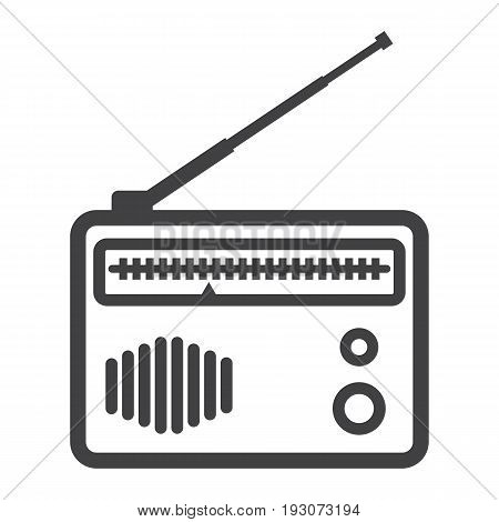 Radio line icon, fm and communication, vector graphics, a linear pattern on a white background, eps 10.