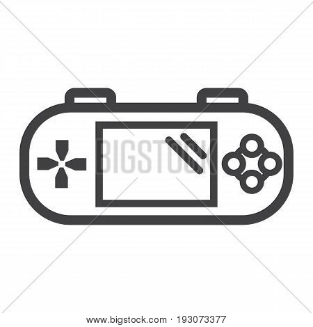 Handheld game console line icon, controller and gadget, vector graphics, a linear pattern on a white background, eps 10.