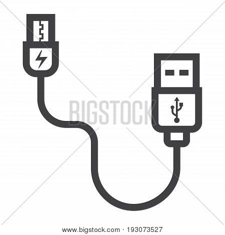 USB cable line icon, connector and charger, vector graphics, a linear pattern on a white background, eps 10.