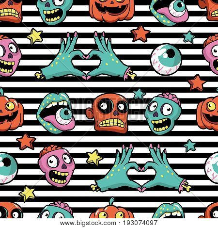 Halloween seamless pattern with fashion patch badges with pumpkin, zombies and other elements. Vector background with stickers, pins, patches in cartoon comic style.