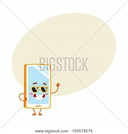 Funky cartoon mobile phone, smartphone character in sunglasses, vector illustration with space for text. Cartoon mobile phone, smartphone character wearing sunglasses, greeting hand gesture
