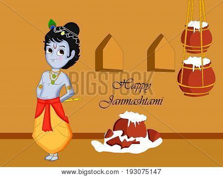 illustration of hindu god Krishna and hanging pots of butter with happy janmashtami on the occasion of Hindu festival Janmashtami