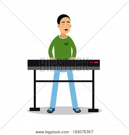 Young keyboardist playing on synthesizer and singing cartoon character vector Illustration isolated on a white background