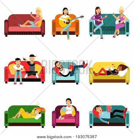 People doing different activities sitting on the couch set. Men and women communicating, having a rest, playing games, reading books, listening to music while sitting on the couch cartoon characters vector Illustrations