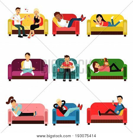 People doing different activities sitting on the couch and armchair set. Men and women having fun and relaxing while sitting on the couch cartoon characters vector Illustrations isolated on a white background