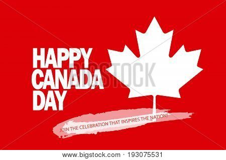 Happy Canada Day! Greeting card, poster, placard, with maple leaf logo, red color of the Canadian flag, lettering. Canada day banner, Holiday, celebration, vector illustration template. Sale gift card