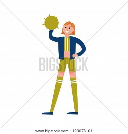 Smiling cheerleader girl wearing uniform standing and holding green pompom cartoon character vector Illustration isolated on a white background