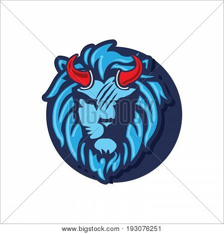 Vector evil lion head, combination of blue on the white background, icon lion, illustrator
