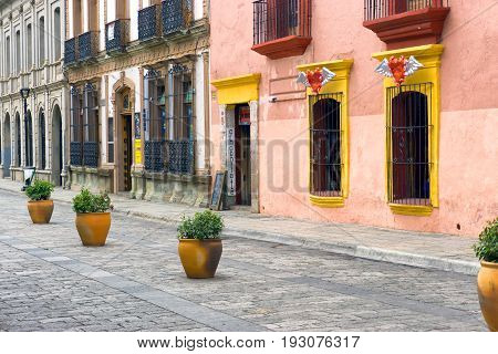 OAXACA MEXICO - MARCH 4: View of a historic street in Oaxaca Mexico on March 4 2017