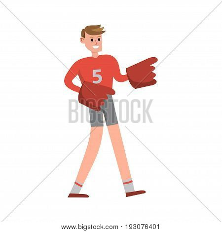 American football fun supporter raising hands wearing foam finger cartoon character vector Illustration isolated on a white background