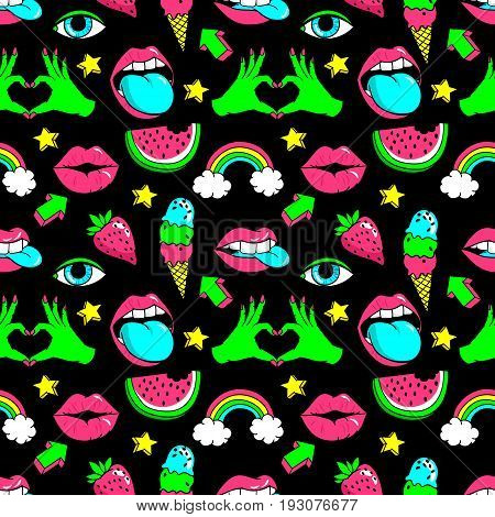 Seamless pattern with fashion patch badges with rainbow, watermelon, lips and other elements.Vector background with stickers, pins, patches in cartoon 80s-90s comic style with neon colors.
