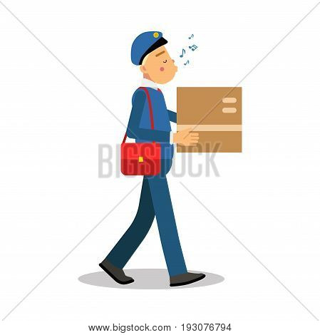 Postman in blue uniform delivering cardboard box and whistling melody cartoon character, express delivery mail vector Illustration isolated on a white background