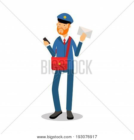 Postman with a red beard in blue uniform delivering letter cartoon character, express delivery mail vector Illustration isolated on a white background