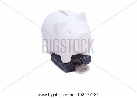 Piggy Bank With Padlock End Key On White Background