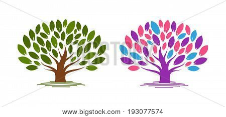 Abstract tree with leaves. Ecology, eco, environment nature icon or logo. Vector illustration isolated on white background