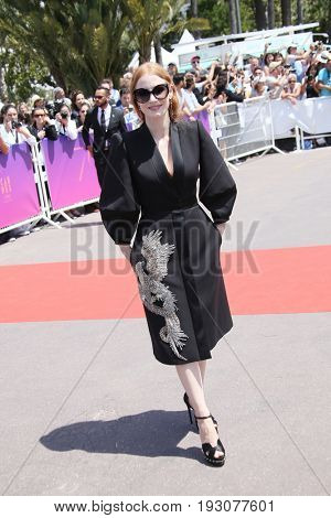 Jessica Chastain attends the 70th Anniversary photocall during the 70th annual Cannes Film Festival at Palais des Festivals on May 23, 2017 in Cannes, France.
