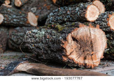 Axe And Firewood. The Axe Lies Near Firewood.